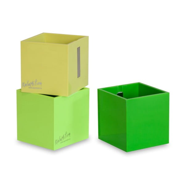 Set 3ks magnetických květináčů Cube Green, velký