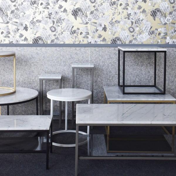 Mramorový konferenční stolek s černou konstrukcí RGE Accent, 75x75cm