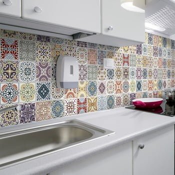 Set 60 autocolante de perete Ambiance Cement Tiles Terrazzo Souzo, 15 x 15 cm