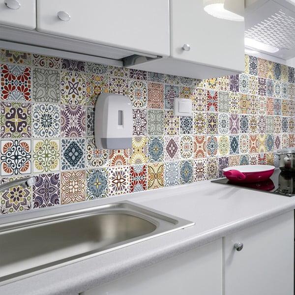 Sada 60 nástěnných samolepek Ambiance Cement Tiles Terrazzo Souzo, 10 x 10 cm
