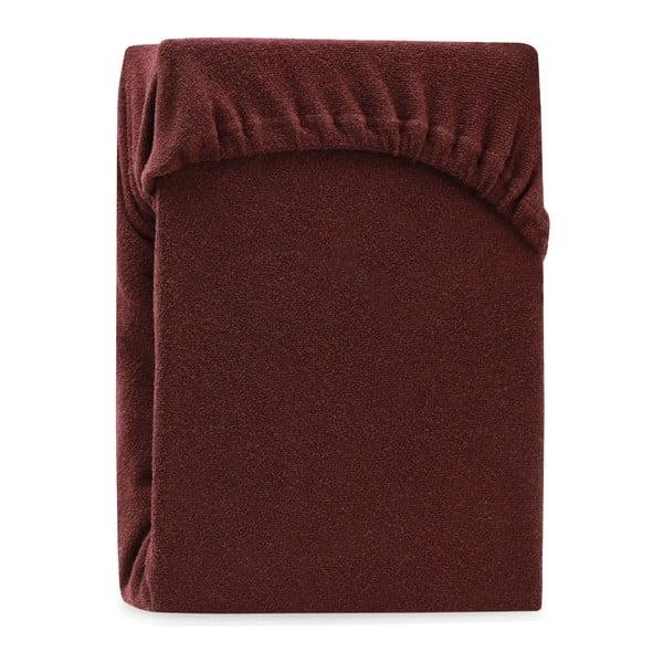 Hnědé elastické prostěradlo na dvoulůžko AmeliaHome Ruby Brown, 220-240 x 220 cm