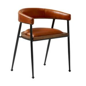 Koňakově hnědá kožená jídelní židle Fuhrhome London
