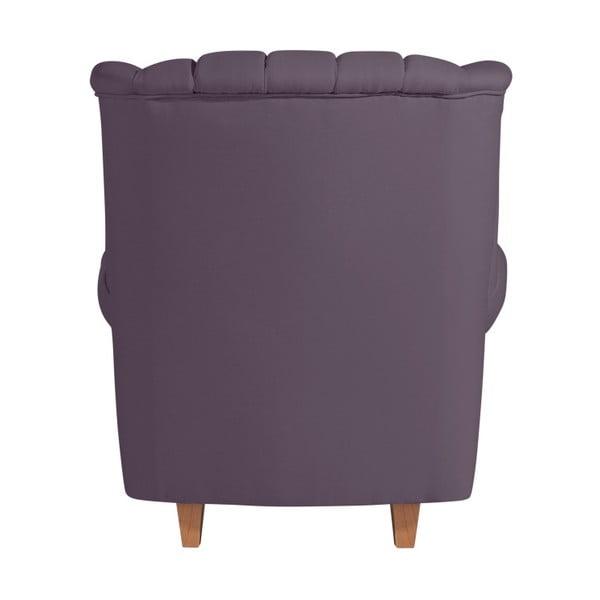 Fialové křeslo ušák Max Winzer Vary Leather Violet