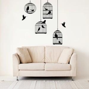 Samolepka na stěnu Ptáci a klece, 70x50 cm