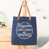 Bavlněná taška s koženými uchy Mr. Wonderful Happiness