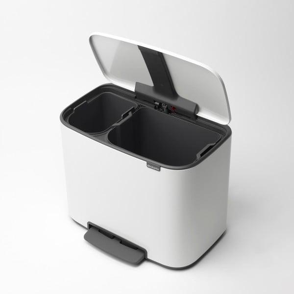 Bílý pedálový odpadkový koš se 2 vnitřními přihrádkami Brabantia BO, 11la23l