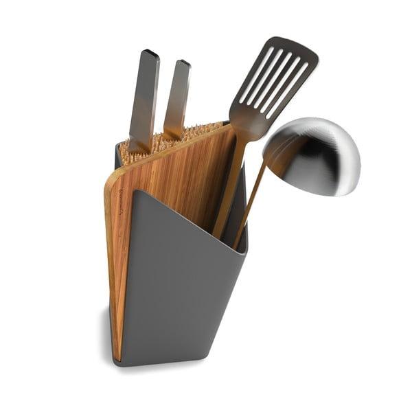Stojan na nože a kuchyňské nástroje s prkénkem Utensil/Knife Holder + Board, šedý