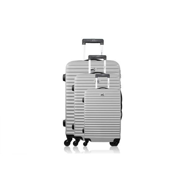 Sada 3 kufrů Linn, stříbrná