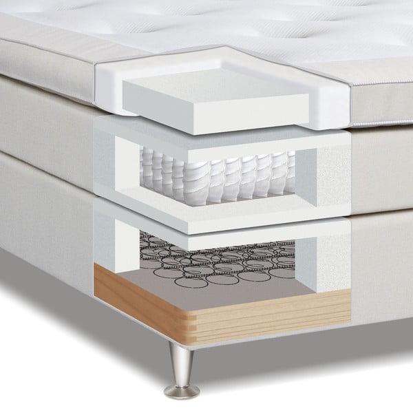 Světle šedá postel s matrací Gemega Hilton, 140x200 cm