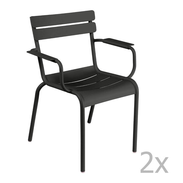 Sada 2 černých židlí s područkami Fermob Luxembourg