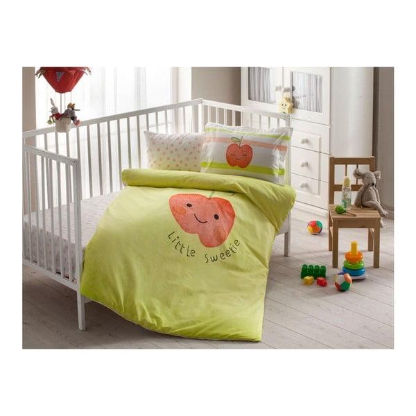Lenjerie de pat cu cearșaf din bumbac Hallmar Baby Girl, 100 x 150 cm