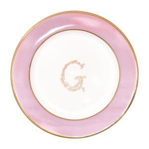 Farfurie pentru desert Green Gate, alb-roz