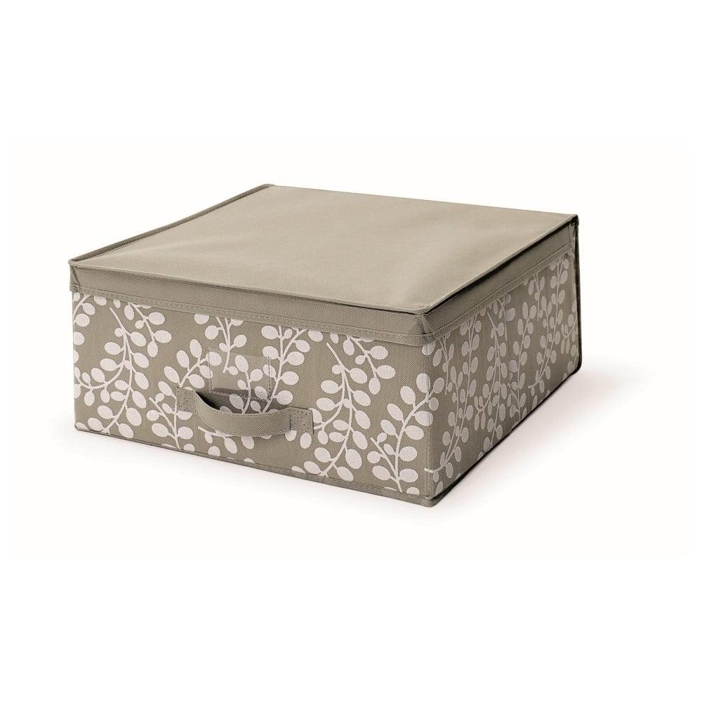 Hnědý uložný box s víkem Cosatto Floral, 45 x 45 cm