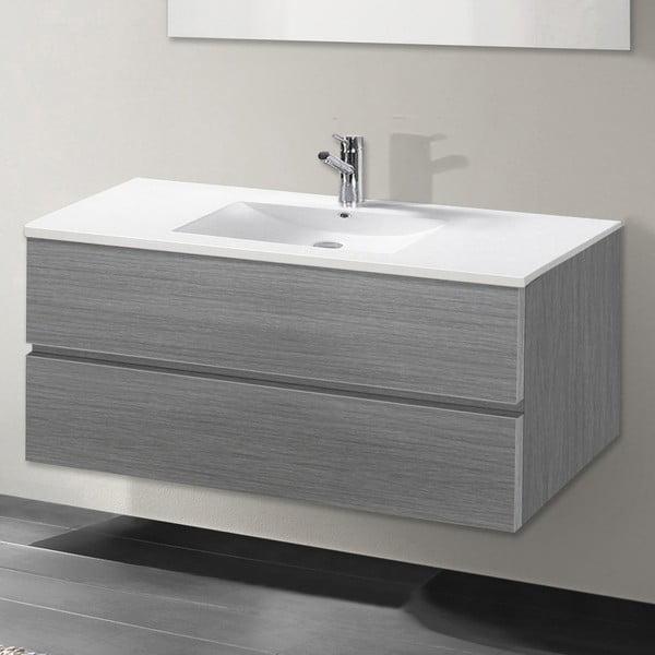 Koupelnová skříňka s umyvadlem a zrcadlem Flopy, odstín šedé, 100 cm