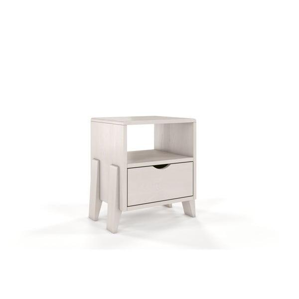 Bílý noční stolek z borovicového dřeva se zásuvkou Skandica Visby Gdynia
