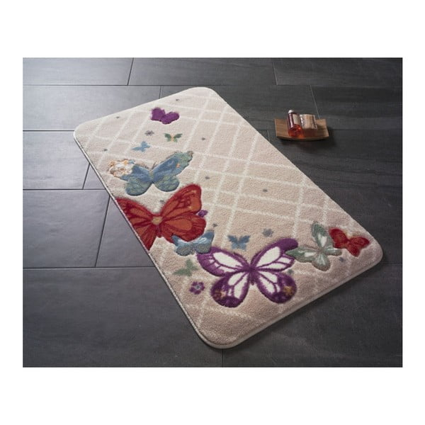 Dywanik łazienkowy z motywem motyli Papillon, 100x57 cm