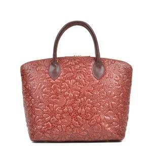 Růžová kožená kabelka Anna Luchini Bloom Rosso