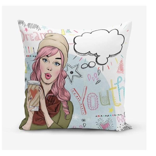 Povlak na polštář s příměsí bavlny Minimalist Cushion Covers Writing, 45 x 45 cm