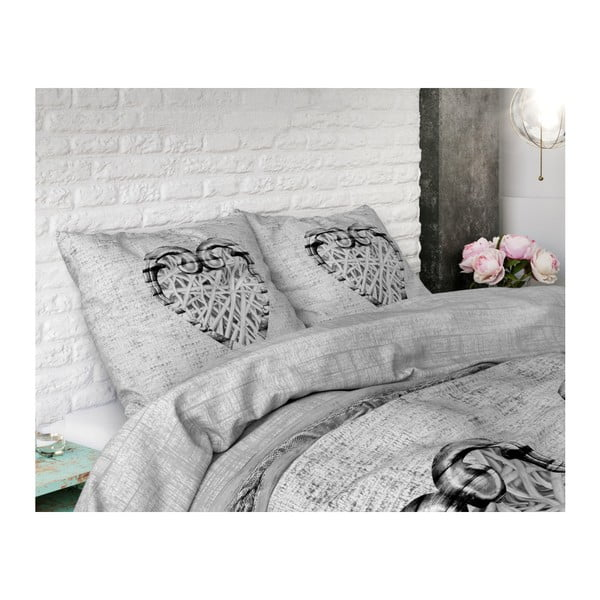 Bavlněné povlečení na jednolůžko Sleeptime Hearts Vintage, 140 x 220 cm
