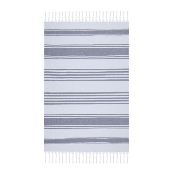 Bílo-modrá plážová osuška Fouta, 170x100cm