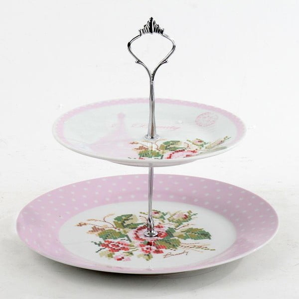 Porcelánový etažér Pink Roses, 26x25 cm