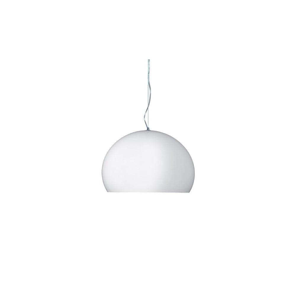 Lesklé bílé stropní svítidlo Kartell Fly, ⌀ 38 cm