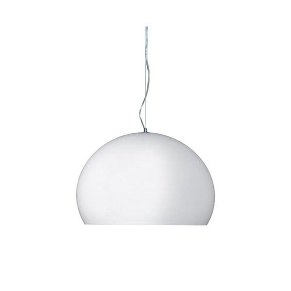 Lesklé bílé stropní svítidlo Kartell Fly, ⌀38cm