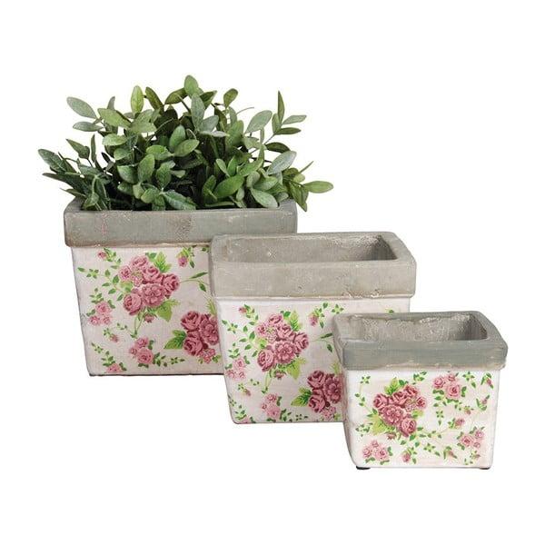 Sada 3 keramických květináčů Spring Time