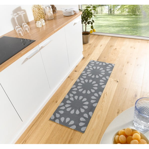 Šedý kuchyňský běhoun Hanse Home Bloom, 50x150cm