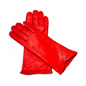 Dámské červené kožené rukavice <br>Pride & Dignity London, vel. 8