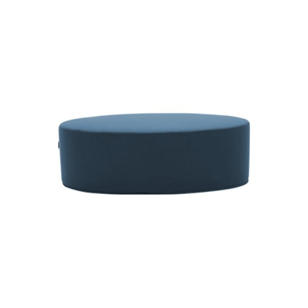 Tmavě modrý puf Softline Bon-Bon Felt Melange Petrol, délka 60 cm