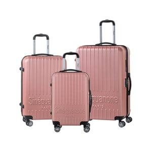 Sada 3 světle růžových cestovních kufrů na kolečkách se kódovým zámkem SINEQUANONE