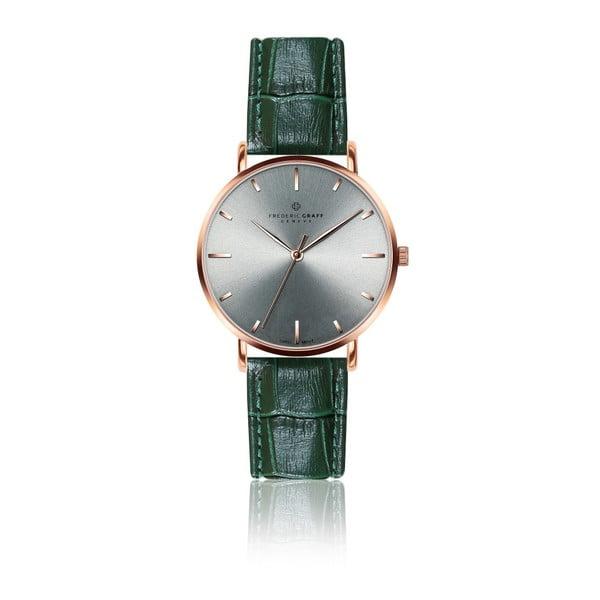 Unisex hodinky s tmavozeleným remienkom z pravej kože Frederic Graff Croco Duro Green