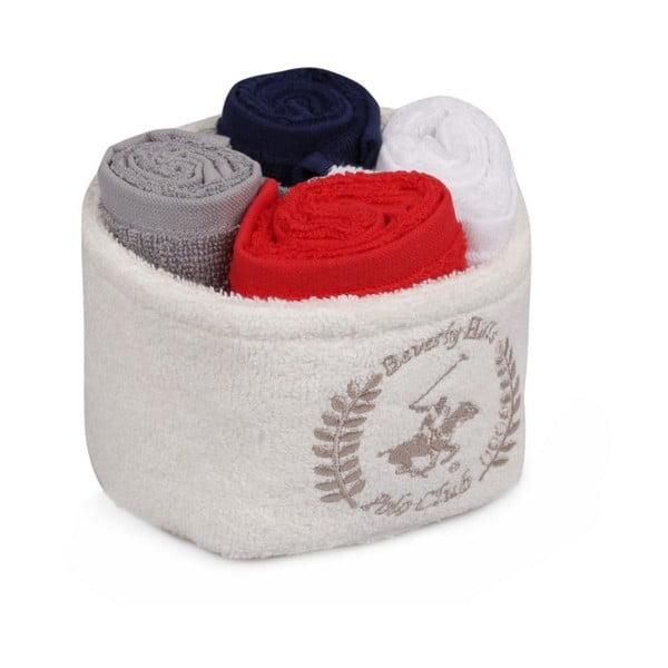 Set 4 ručníků a pouzdra Beverly Hills Polo Club, 30x30cm