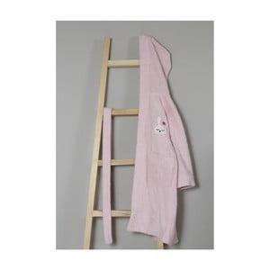 Světle růžový bavlněný dětský župan s kapucí My Home Plus Sleepy, 8 - 10 let