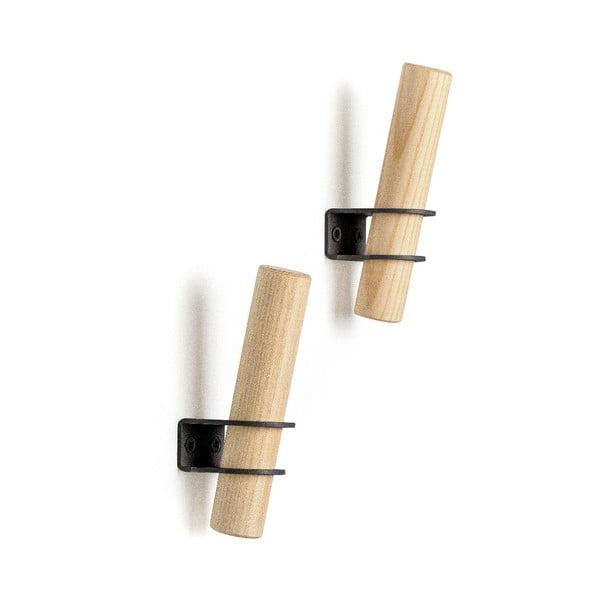 Sada 2 háčků z jasanového dřeva s černým držákem EMKO Torch