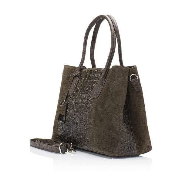 Tmavě hnědá kožená kabelka Markese Procris