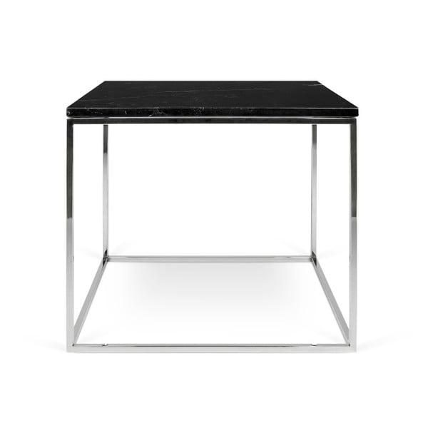 Černý mramorový konferenční stolek s chromovými nohami TemaHome Gleam, 50cm