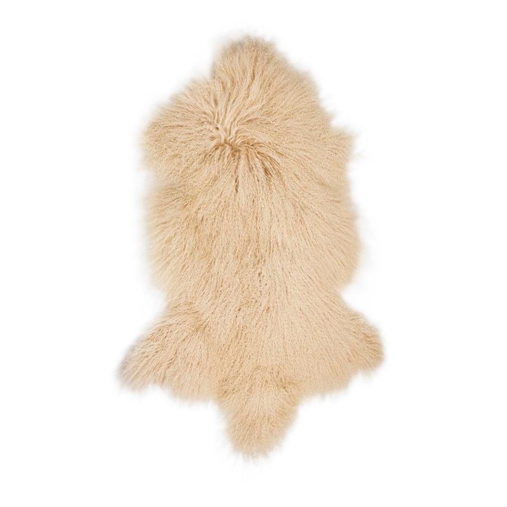 Béžová ovčí kožešina s dlouhým chlupem Hyggur, 85 x 50 cm
