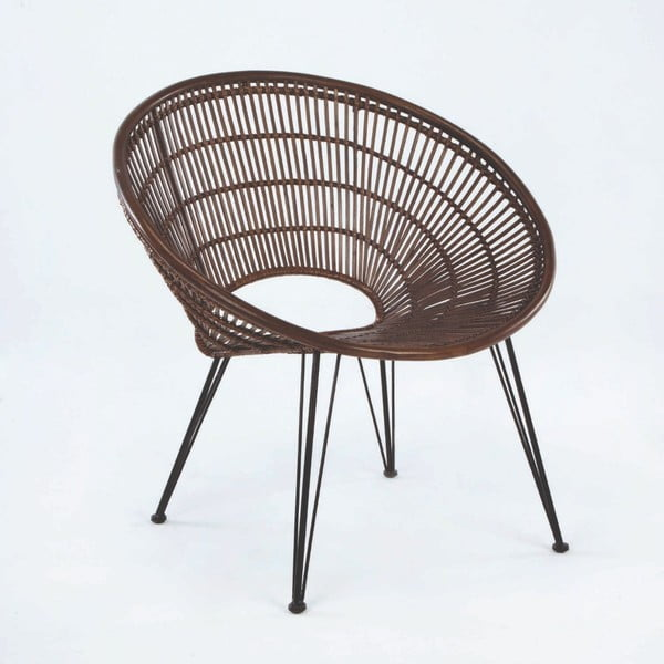 Hnědá proutěná židle Thai Natura, výška 80cm