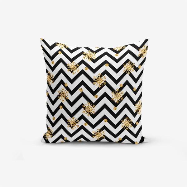Față de pernă cu amestec din bumbac Minimalist Cushion Covers Snowflake Zigzag, 45 x 45 cm