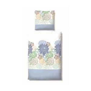 Povlečení Maco Jersey Flowers Blue, 155x220 cm
