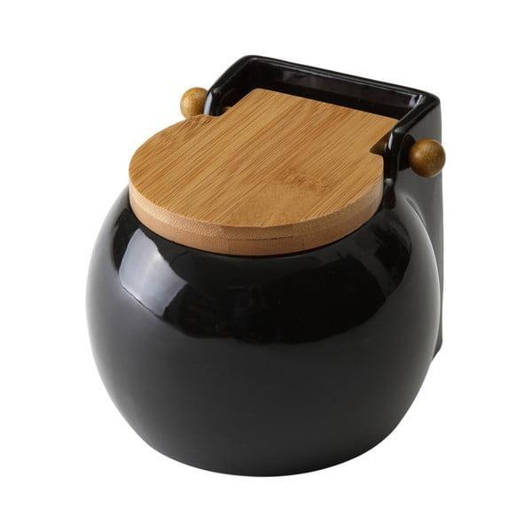 Czarny pojemnik na sól z wieczkiem Unimasa Ceramic, 700ml