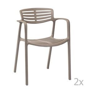Sada 4 hnědých zahradních židlí s područkami Resol Toledo Aire