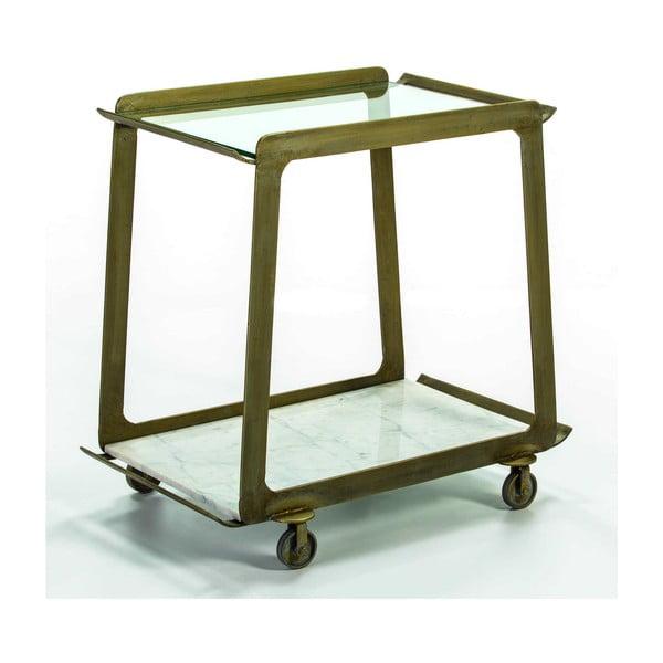 Pojízdný servírovací stolek ve zlaté barvě s mramorovou deskou Thai Natura