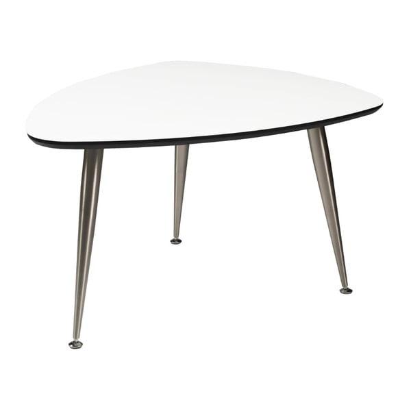 Bílý konferenční stolek s nohami ve stříbrné barvě Folke Strike, 47x70x90cm