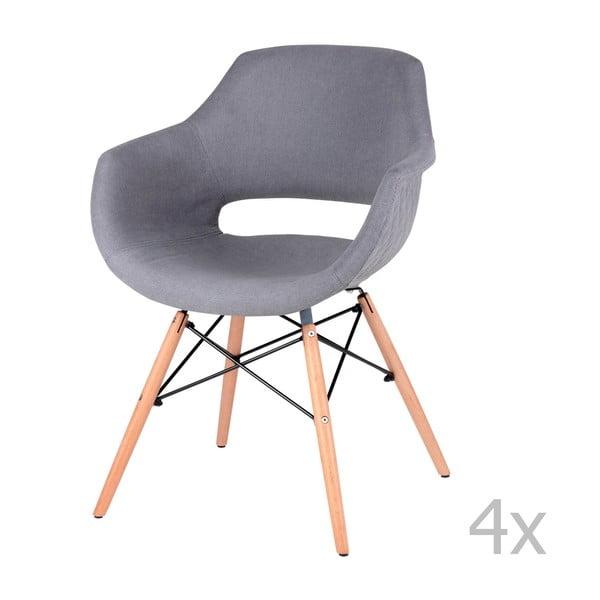 Zestaw 4 szarych krzeseł do jadalni sømcasa Nadine