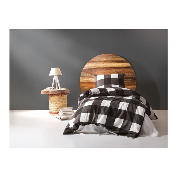 Obliečky s prímesou bavlny na jednolôžko Plaid, 140 × 200 cm