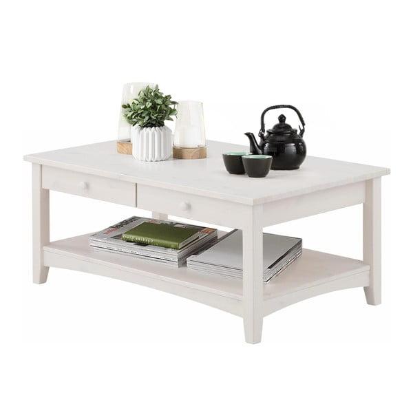 Bílý konferenční stůl se šuplíky z masivního borovicového dřeva Støraa Chub L