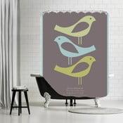 Koupelnový závěs Three Little Birds Brown, 180x180 cm